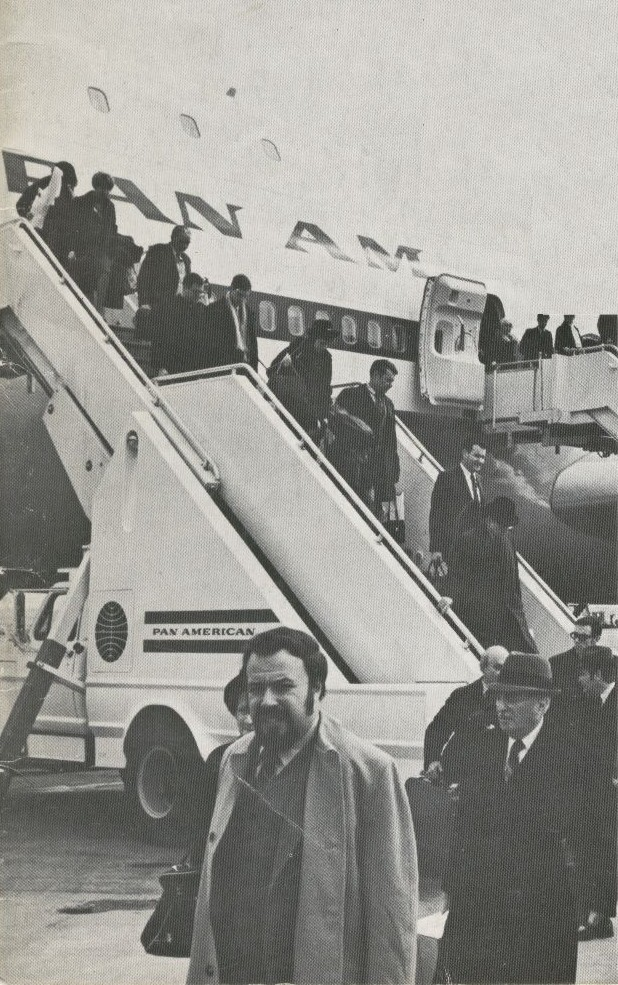 1970 Customers deplane a Pan Am Boeing 747 via stairs at New York JFK Airport.