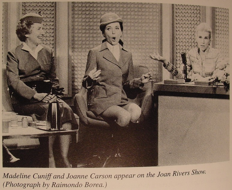 1970s Madeline Cuniff, Pan Am's first female Stewardess  joins the wife of talk show host, Jonnie Carson, for a guest appearance on the Joan Rivers Show.