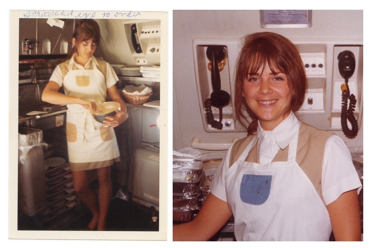 1970s On the left Susanne Malm prepares scrambled eggs in the galley of a Pan Am 707, on the right Susanne smiles for the camera in between her duties in the galley.