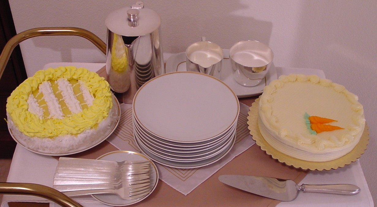 With enough guests two dessert choices may be offered and served on 1970s Gold Rim china.