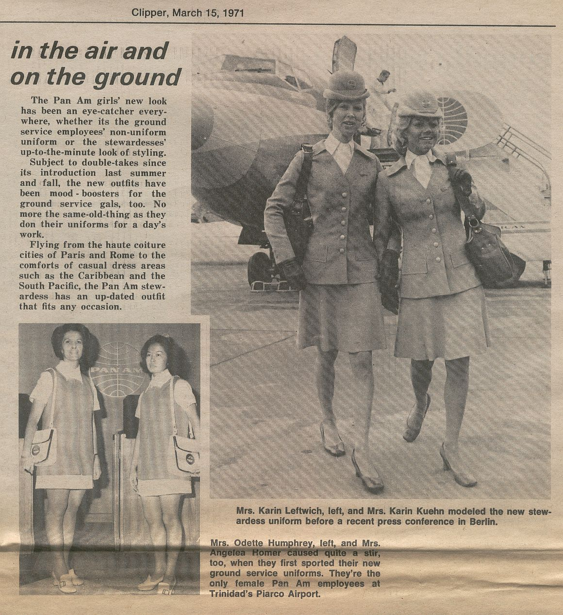 1971 An Article from an employee publication shows both in-flight and ground uniforms introduced in 1970.