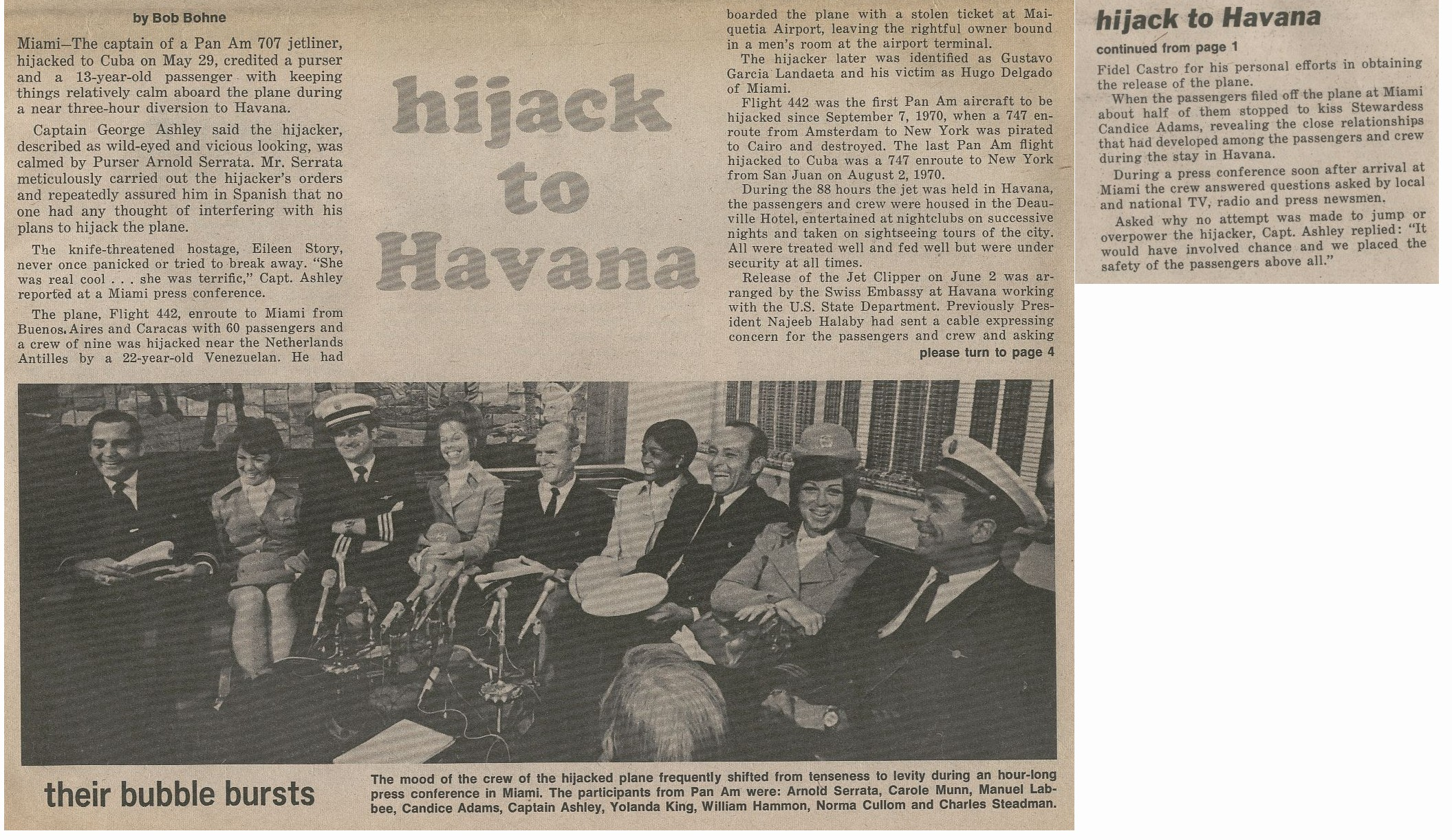 1971, June, Article on the Hijacking of a Pan Am flight to Havana.