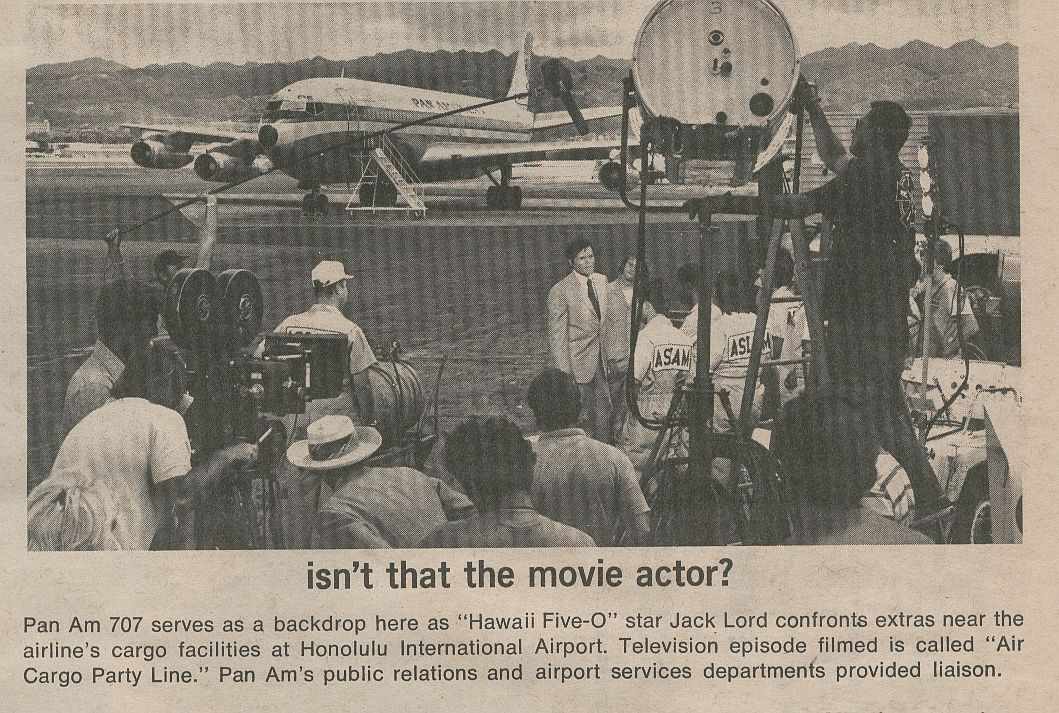 1971 Actor, Jack Lord, shooting an airport scene for the popular TV show 'Hawaii Five O'