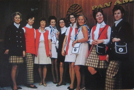 1971 Agents from Pan Am's Stockholm ticket office pose in their new uniforms.