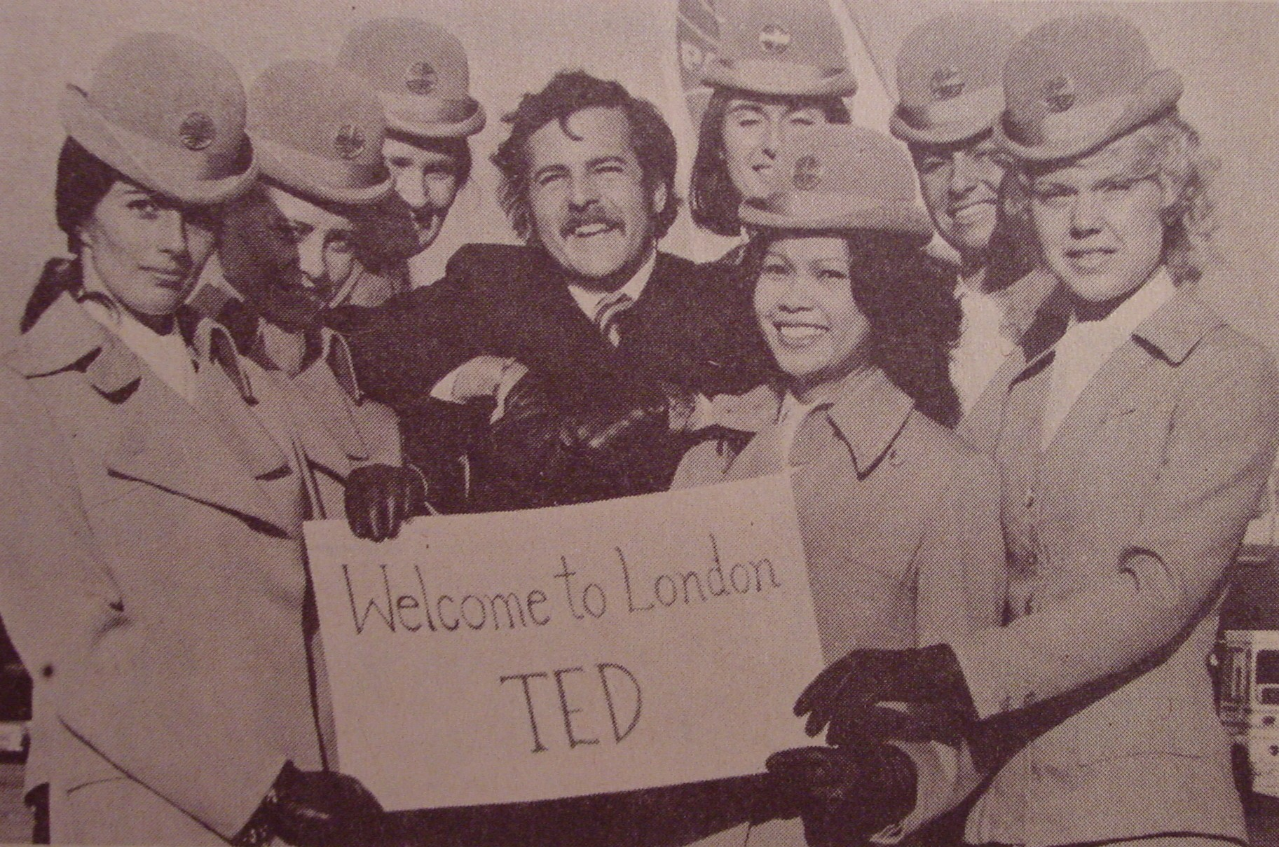 1972 When Ted Macauley became the first male flight attendant at the London base he was given a warm welcome by his female colleagues.