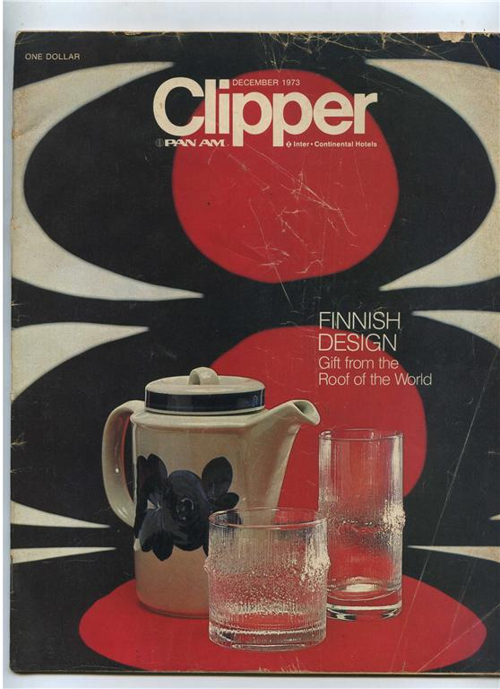 1973 December Clipper in-flight magazine with a cover story on Finnish design.