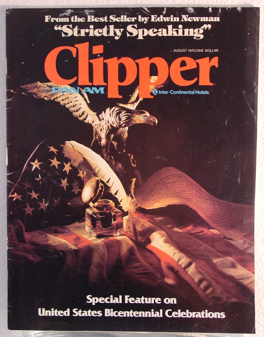 1975 August Clipper in-flight Magazine with a cover story on the United States Bi-centennial