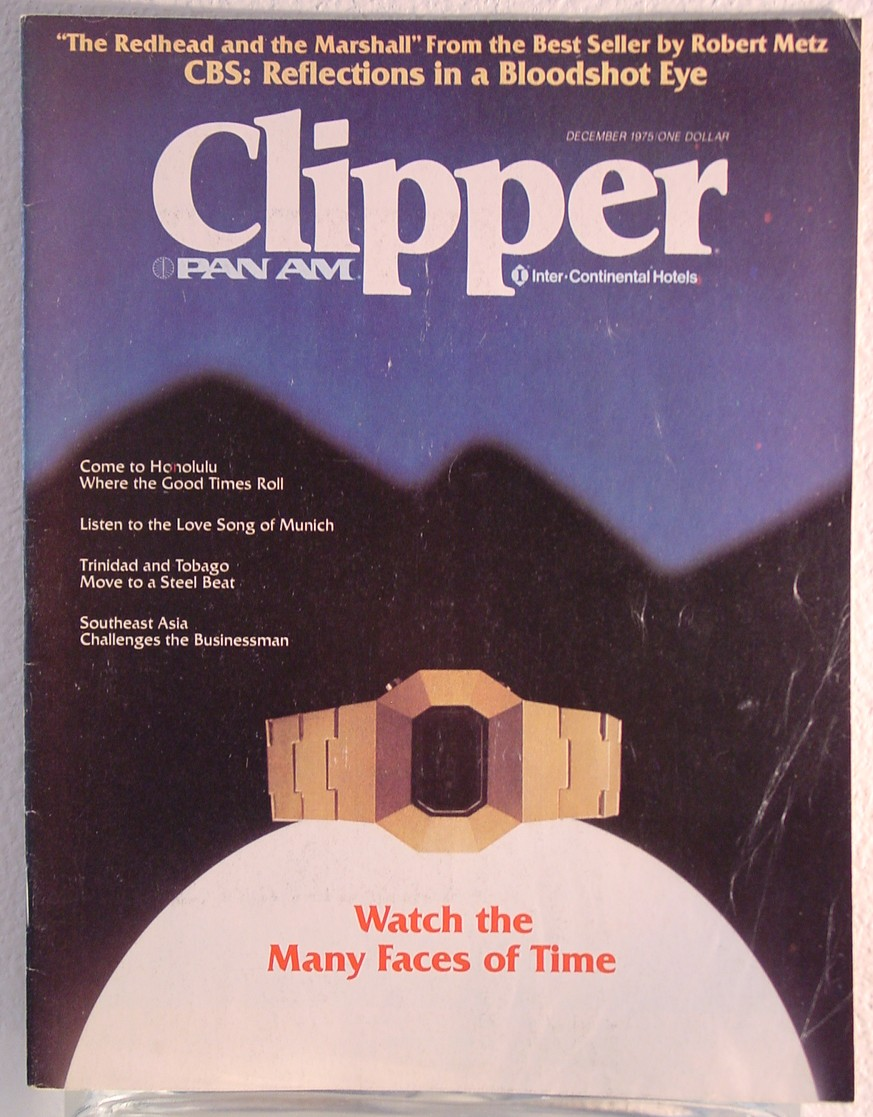 1975 December, Clipper in-flight Magazine with a cover story on watches.