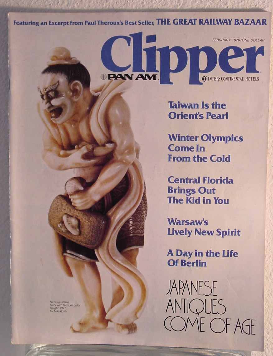 1976 February Clipper in-flight Magazine with a cover story on Asian art.