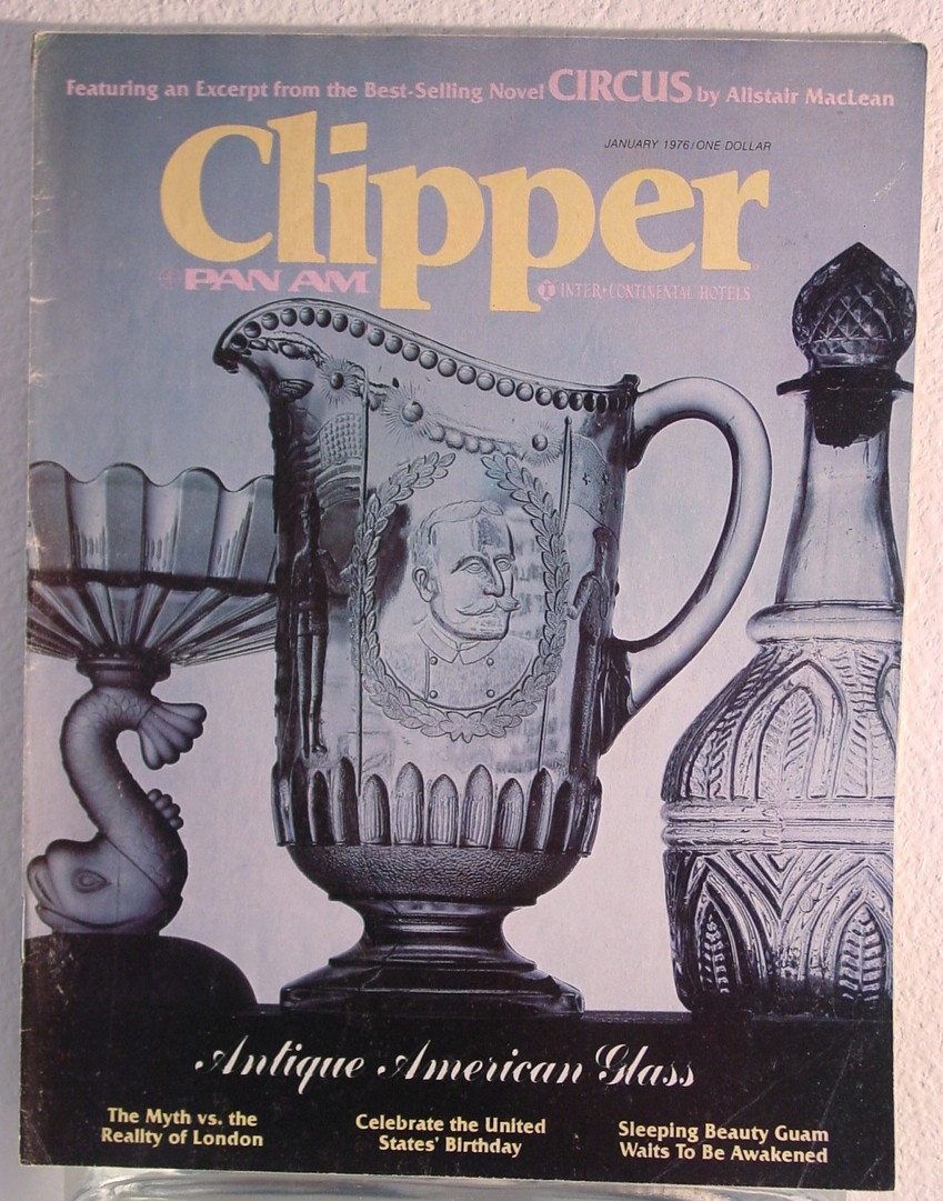 1976 January Clipper in-flight Magazine with a cover story on antique American glass.