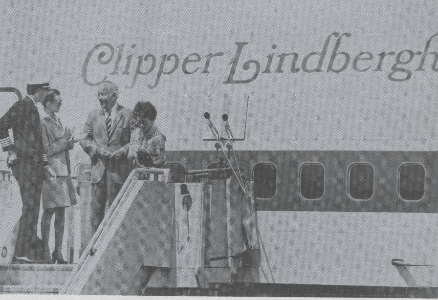 1977 Anne Morrow Lindbergh christens a Boeing 747SP after her late husband, Charles Lindbergh who was a Pan Am consultant from the late 1920s until his death.  The Lindberghs were personal friends of Pan Am founder Juan Trippe and his wife Betty Trippe.