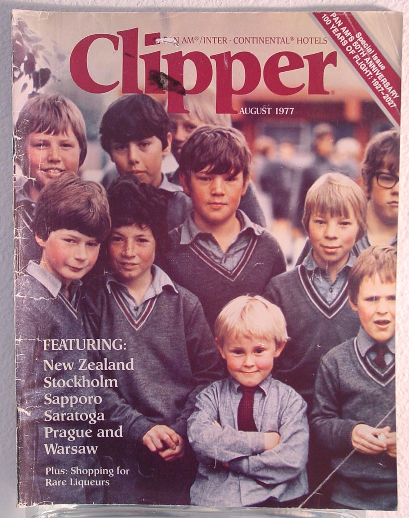 1977 August, Clipper in-flight Magazine with a cover story on New Zealand.