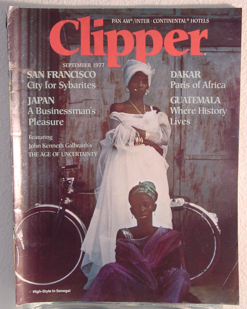 1977 September Clipper in-flight Magazine with a cover story on Dakar, Senegal.