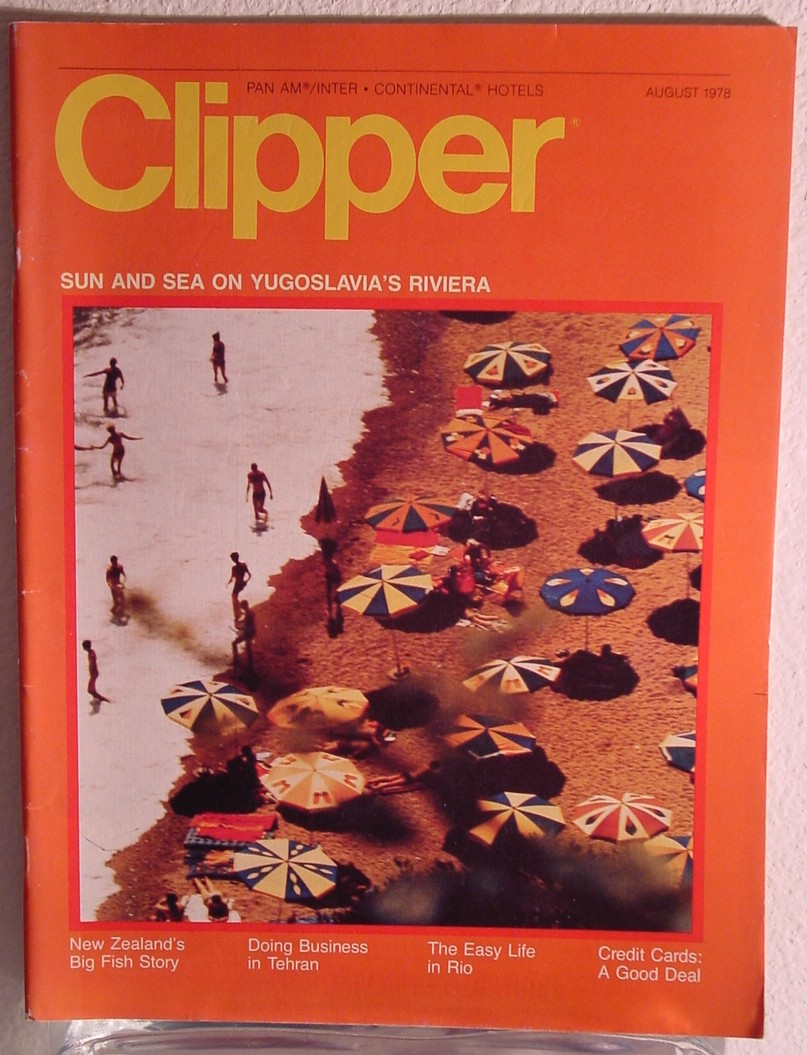1978 August, Clipper in-flight Magazine with a cover story on Yugoslavia's Riviera.