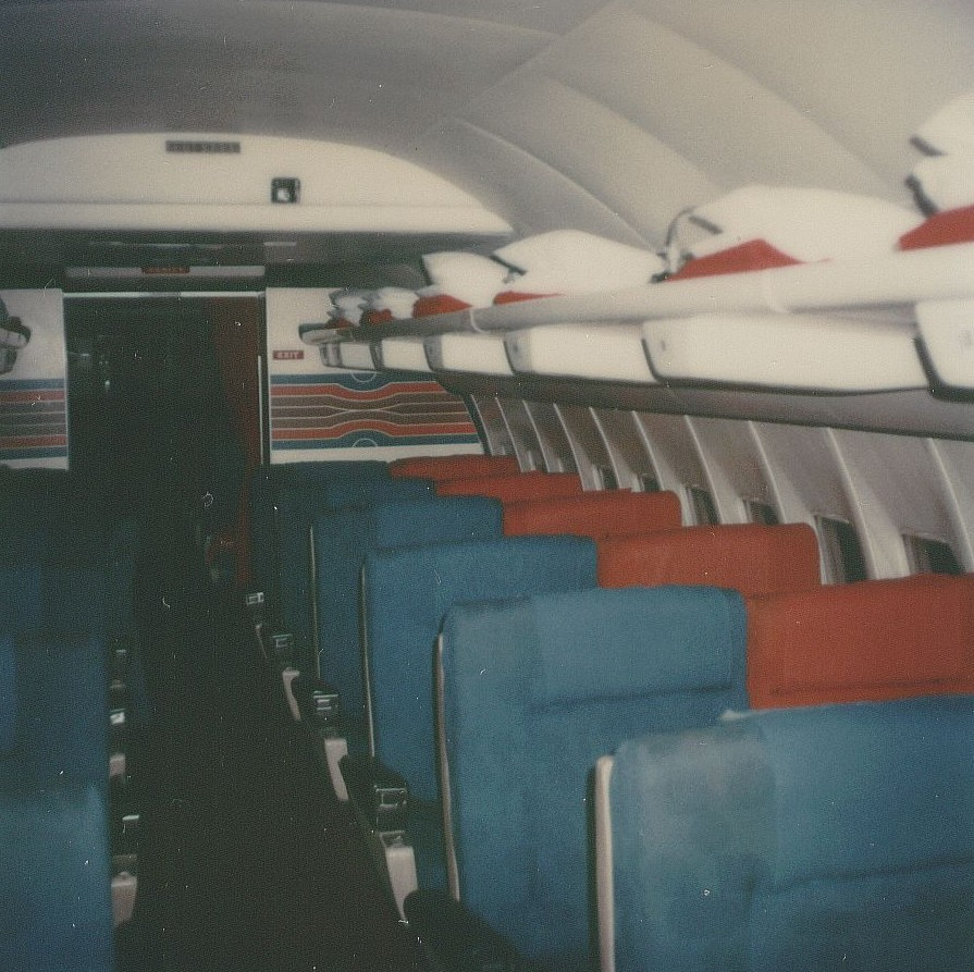 December 1978 a Pan Am Boeing 707 First Class cabin with 24 seats; 6 rows with 4 across; 2 seats on either side of the aisle.