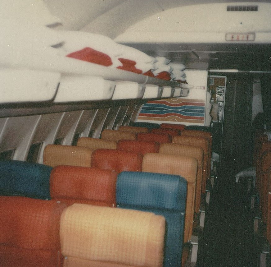 December 1978 The back area of the economy cabin on Pan Am Boeing 707 tail number N886PA.