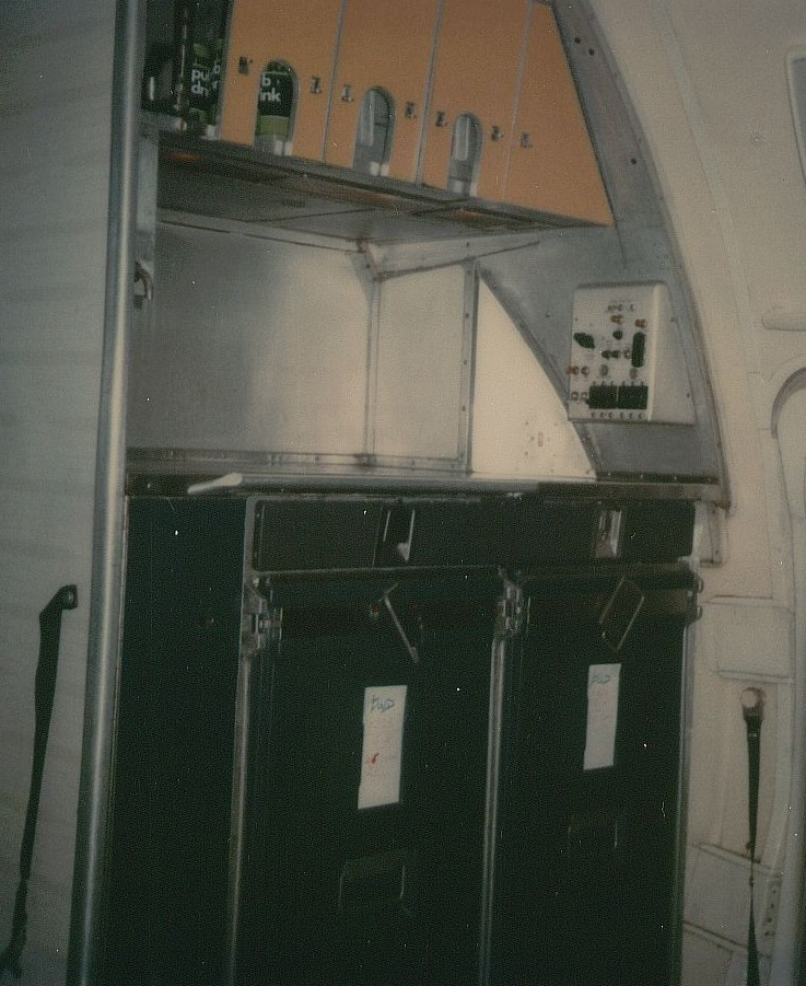 May 1978 the rear galley looking forward on a Pan Am Boeing 707.  This galley was used to serve economy class customers.