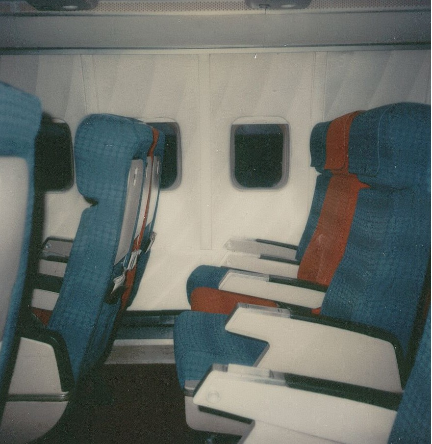 January 1979 A side view of Economy Class seats on a Pan Am Boeing 707.