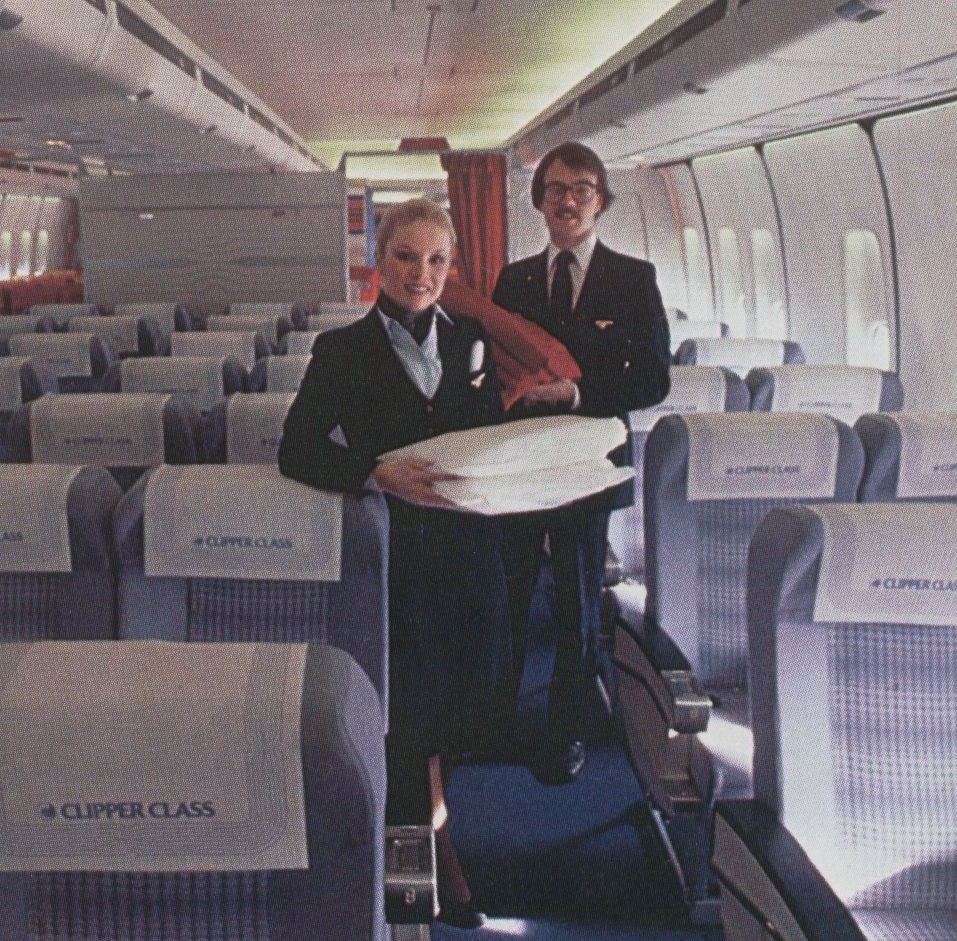 In 1980 Pan Am began to market 'Business Class.'  This picture shows Pan Am's 8 across seating in Clipper Class aboard a 747SP.