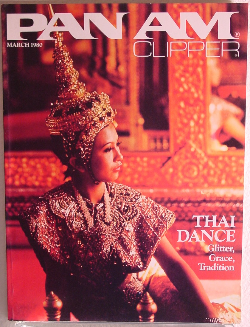 1980 March Clipper in-fligh Magazine with a cover story on Thai Dance.