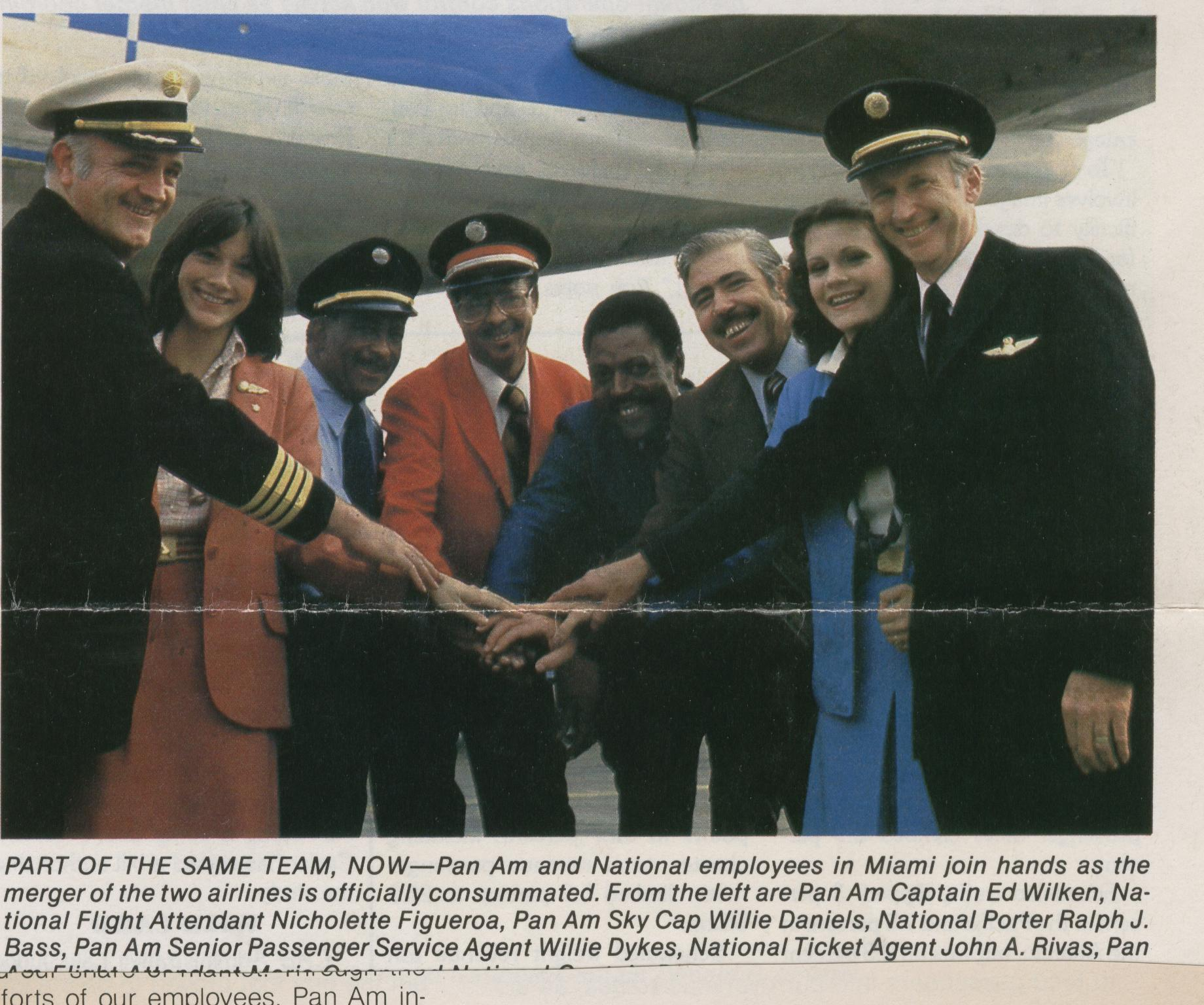 1980 Pan Am & National Airlines employees from various departments post by a 707 in the lead up to the Pan Am - National Merger. The merger was signed in January of 1980.