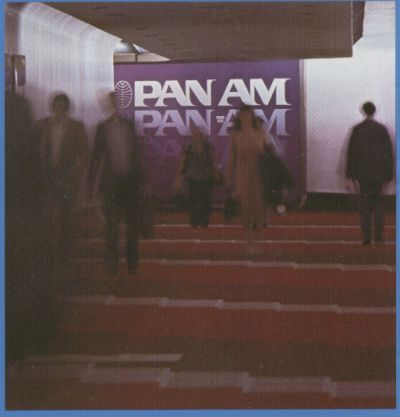 1980s Customers moving through Pan Am's concourse in Miami.