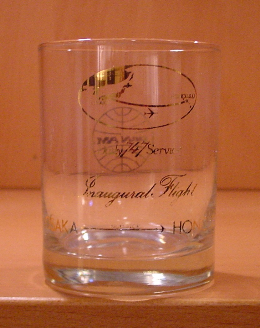 1980s In the 1980s Pan Am launched daily Osaka, Japan to Honolulu, Hawaii service.  This glass was given to passengers on the first flight.