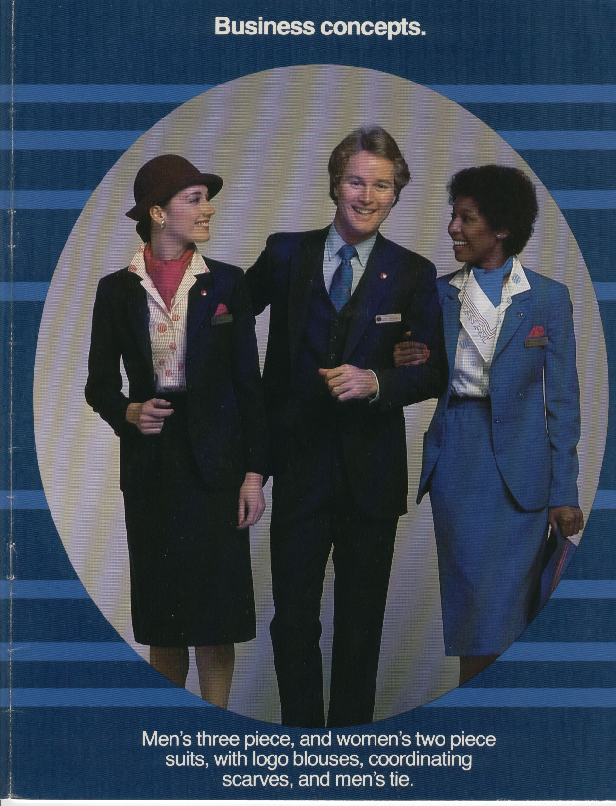 1980, July, Pan Am introduced new flight service and Passenger service (ground staff) uniforms in July of 1980.  This picture shows the  Passenger Service uniforms designed by French designer Jean Cacharel.