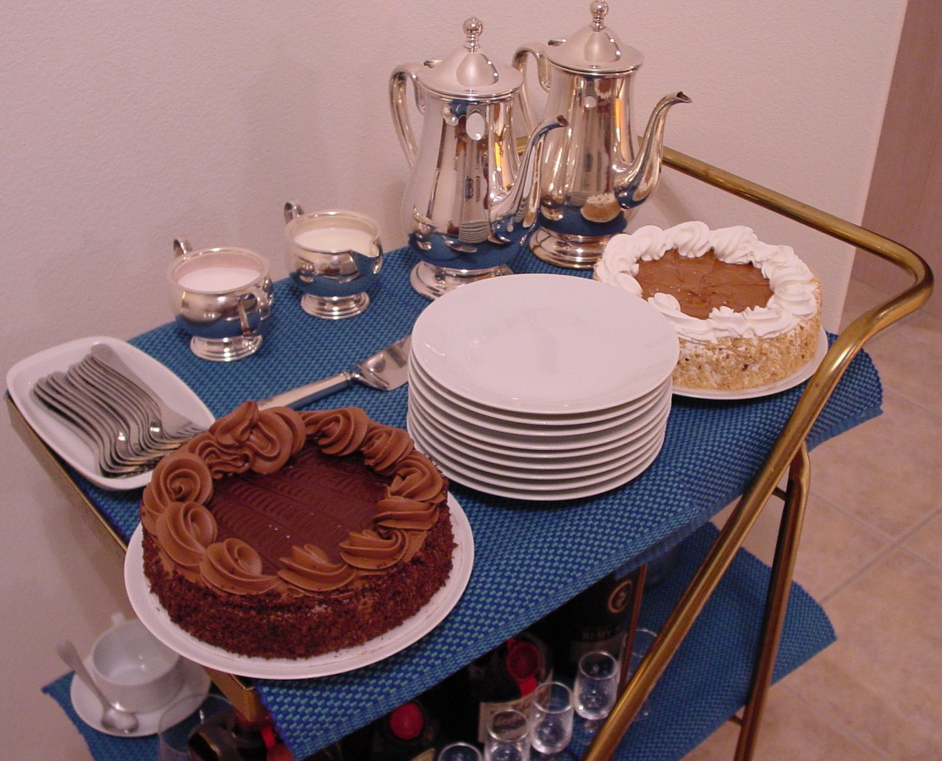 With enough guests two dessert choices may be offered and served on Pan Am's 1980s china & silver service.
