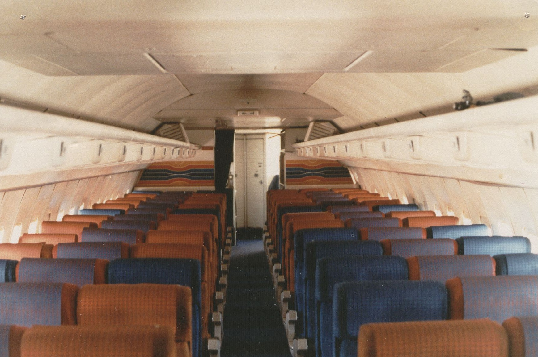 August 1981 The rear section of the cabin of a Pan Am Boeing 707 in an all economy configuration with 180 seats.