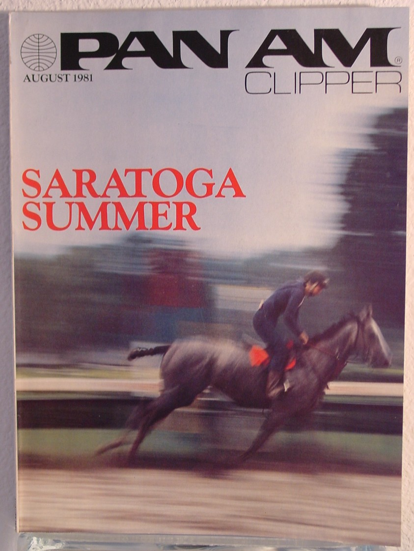1981 August Clipper in-flight Magazine with a cover story on Saratoga horse racing.