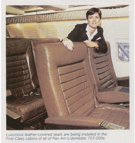 In the late 1970s Braniff outfitted its fleet with leather seats.  When Braniff ceased operations in 1981 Pan Am bought some of the seats to upgrade its domestic fleet of 727s.  In the photo a flight attendant poses with some of the newly acquired first class leather seats.