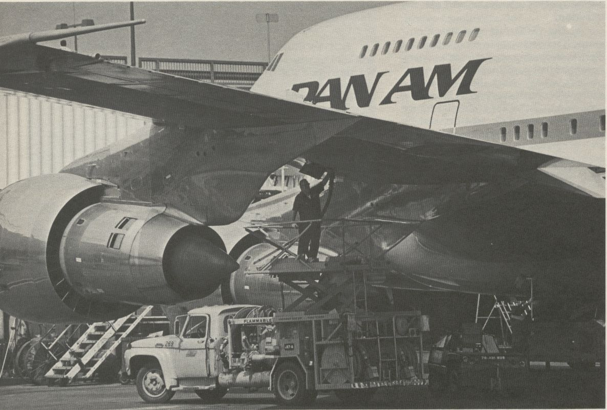 1981 A Pan Am 747SP is fueled.