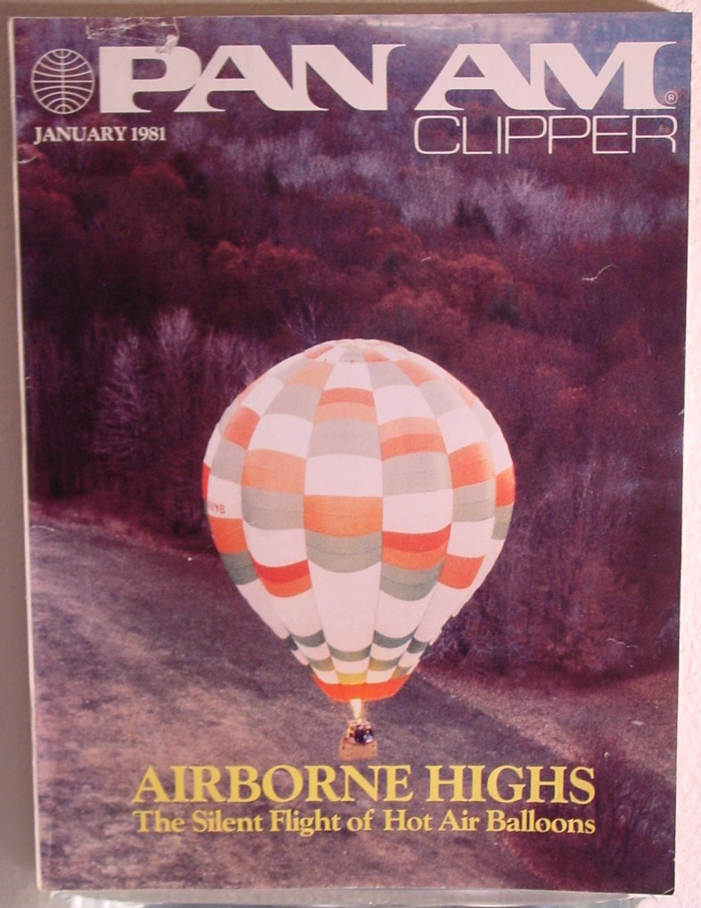 1981 January Clipper in-flight Magazine with a cover story on hot air balloons.