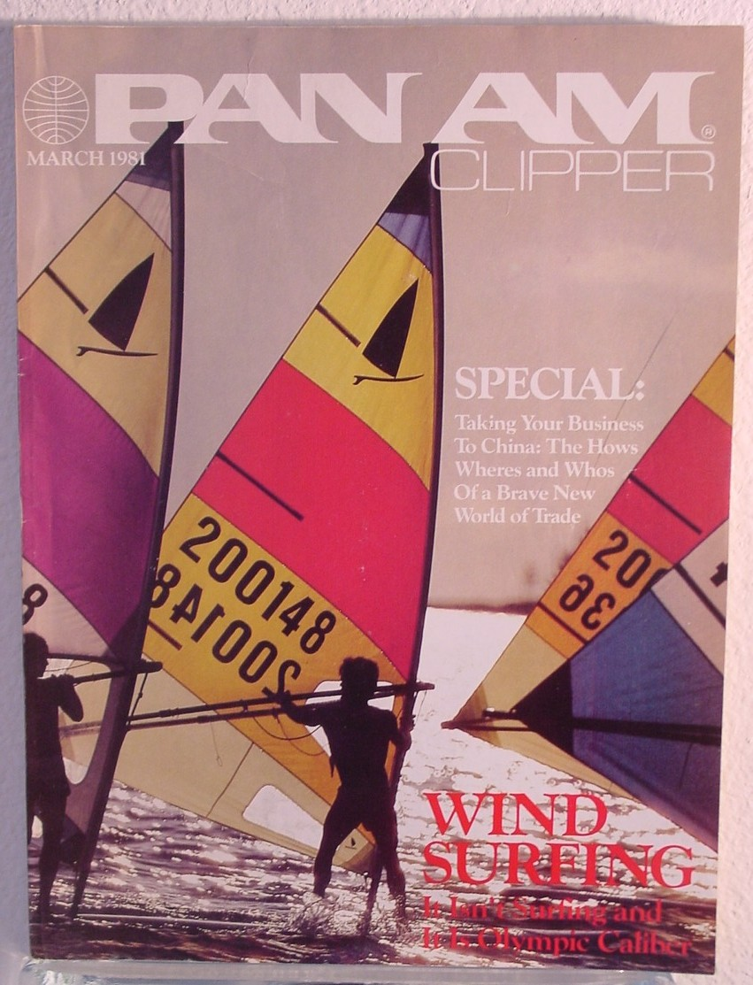 1981 March, Clipper in-flight Magazine with a cover story on wind-surfing.