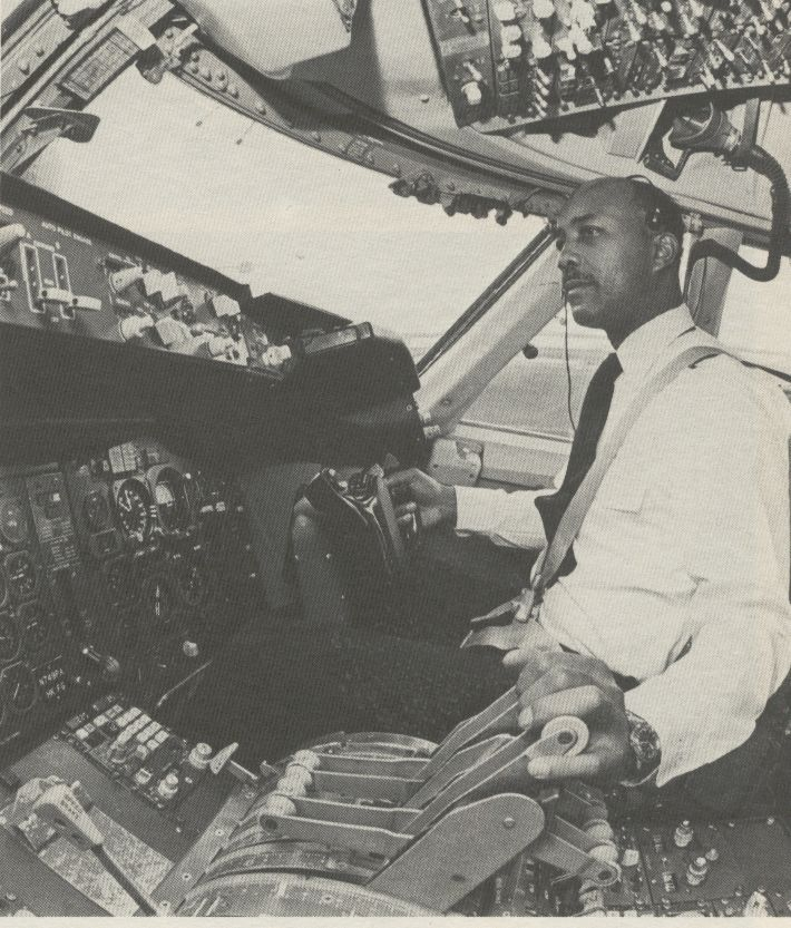 1981 Pan Am pilot Otis Young in the co-pilot seat of a Pan Am 747.
