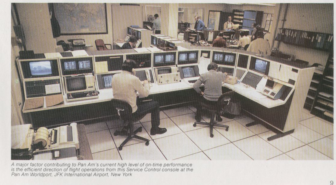 1981 The Pan Am Service Control Center at New York JFK Airport.  This terminal 'nerve center' was opened to improve operational communication and improve on-time performance.