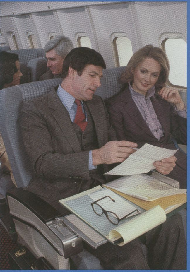 1982 The Clipper Class cabin of a Pan Am L1011-500.  The L1011 fleet only flew with Pan Am from 1980 to 1986.  Six went to United Airlines as part of the Pacific route sale.  Another six were sold to Delta Airlines.  United would late sell the six L1011s to Delta.
