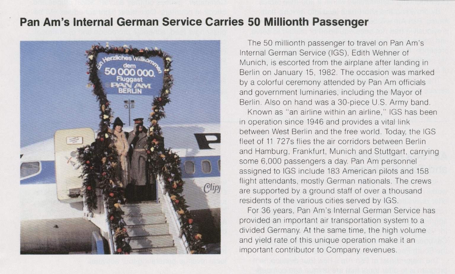 1982, January,  Pan Am carries the 50 millionth customer on flights within Germany.