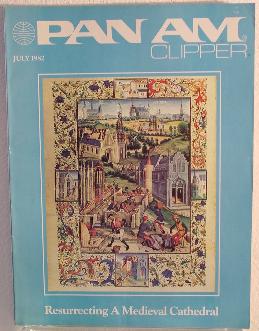 1982 July, Clipper in-flight Magazine with a cover story on a Medieval cathedral.