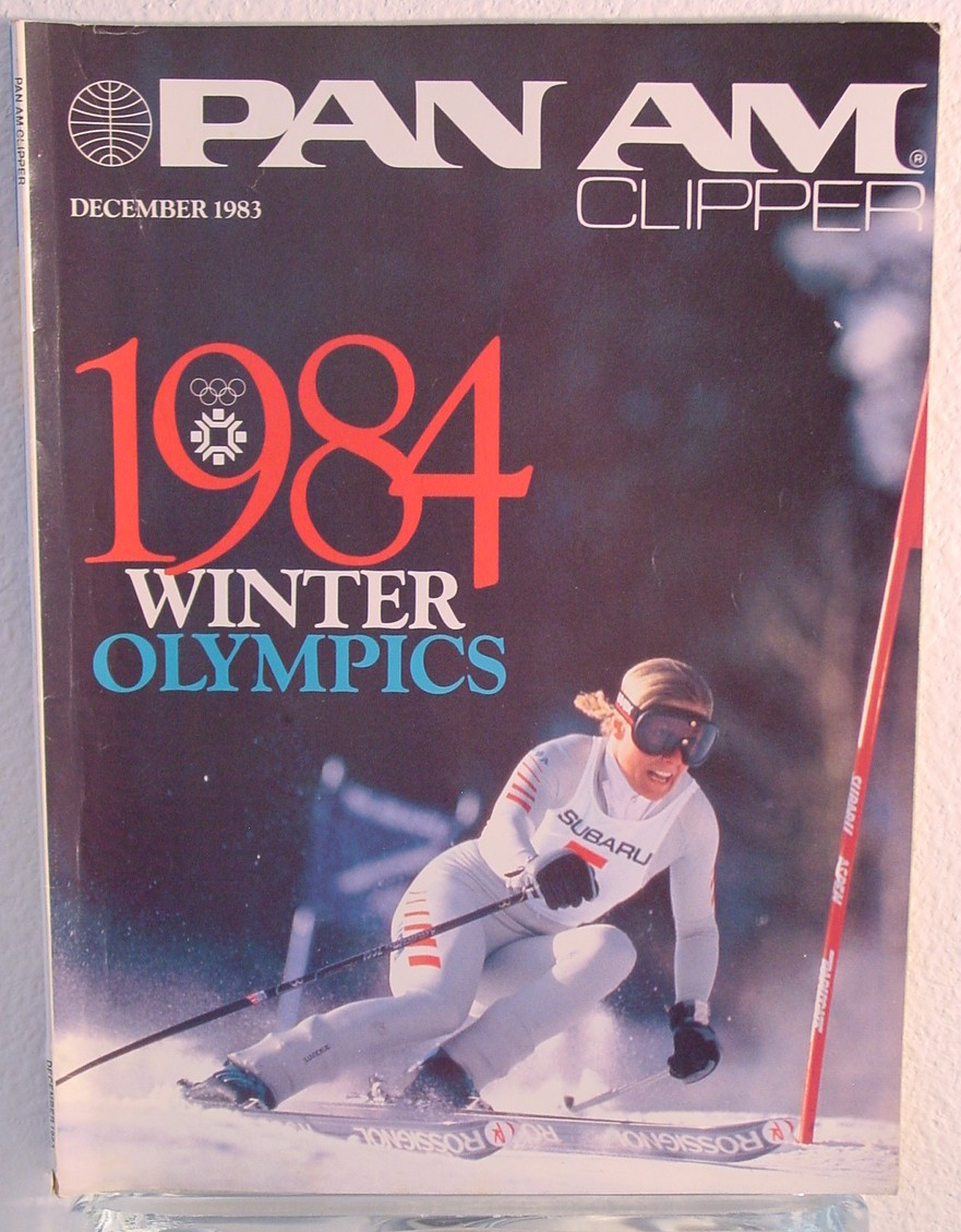 1983 December, Clipper in-flight Magazine with a cover story on the 1984 Winter Olympics in Yugoslavia.  Pan Am was the Official International Airline of the Olympics.