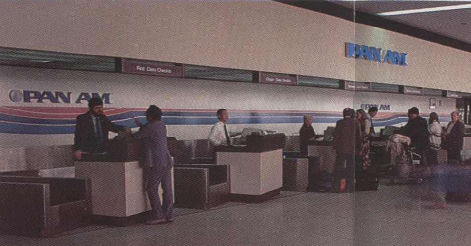 1983, January, A long shot of Pan Am's ticket counter at Los Angeles Airport.