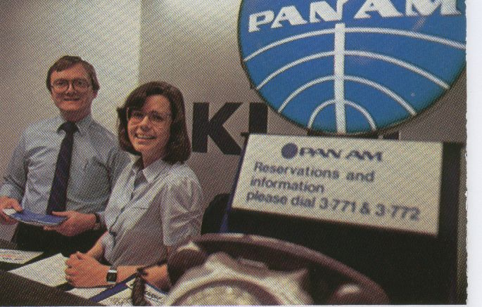 1983, January, Pan Am's ticket office (different from the check-in counter) at London Heathrow Airport.