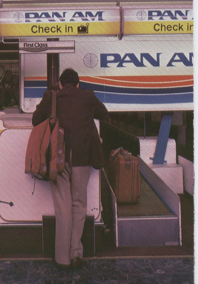 1983, January, Pan Am's check-in counter at London Heathrow Airport.