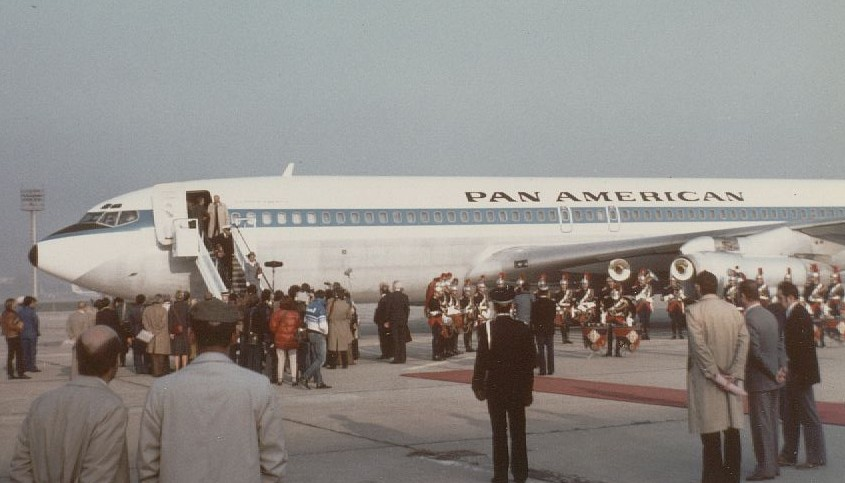 1983,For the 25th Anniversary of Pan Am's first jet flight the company decided to re-enact the first flight.  A Boeing 707 was taken out of mothballs and brought up to flight standard.  The cabin was refurbished with all first class seating and the aircraft was repainted in the same livery that took flight on October 26, 1958.  French and American celebrities, Eartha Kitt, Marcel Marceau and others along with the Press were invited on the flight.  This photo shows the re-enacted flight arriving in Paris.
