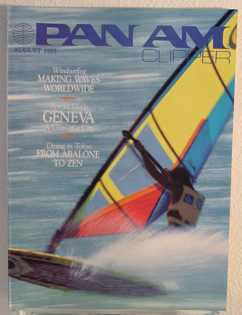 1985 August Clipper in-flight Magazine with a cover story on wind-surfing.