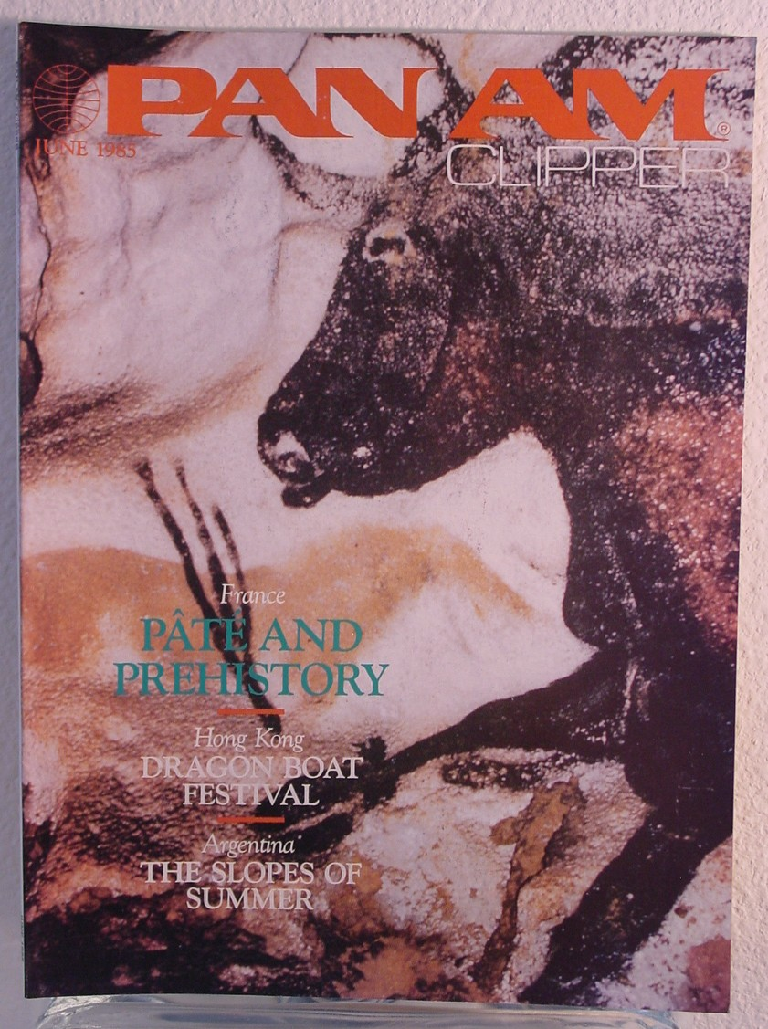 1985 June Clipper in-flight Magazine with a cover story on cave drawings in France.