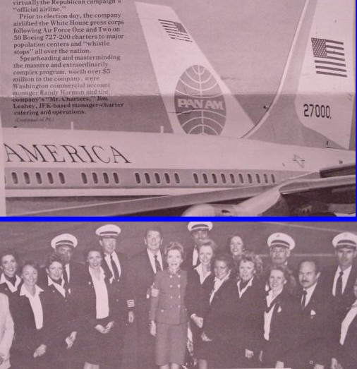 1985 President & Mrs Reagan pose with Pan Am crew.  Pan Am carried the US Press Corp accompanying the President on all trips until the company shut down in December of 1991.