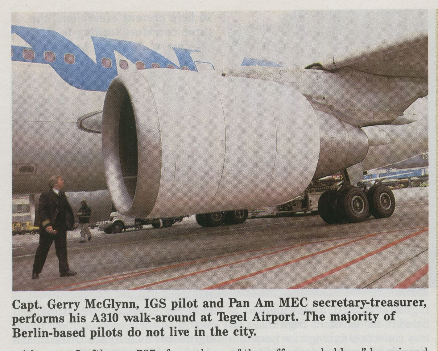 1986, Apri, Captain Gerry McGlynn on a pre-flight inspecting of an Airbus A310 at Frankfurt Airport.