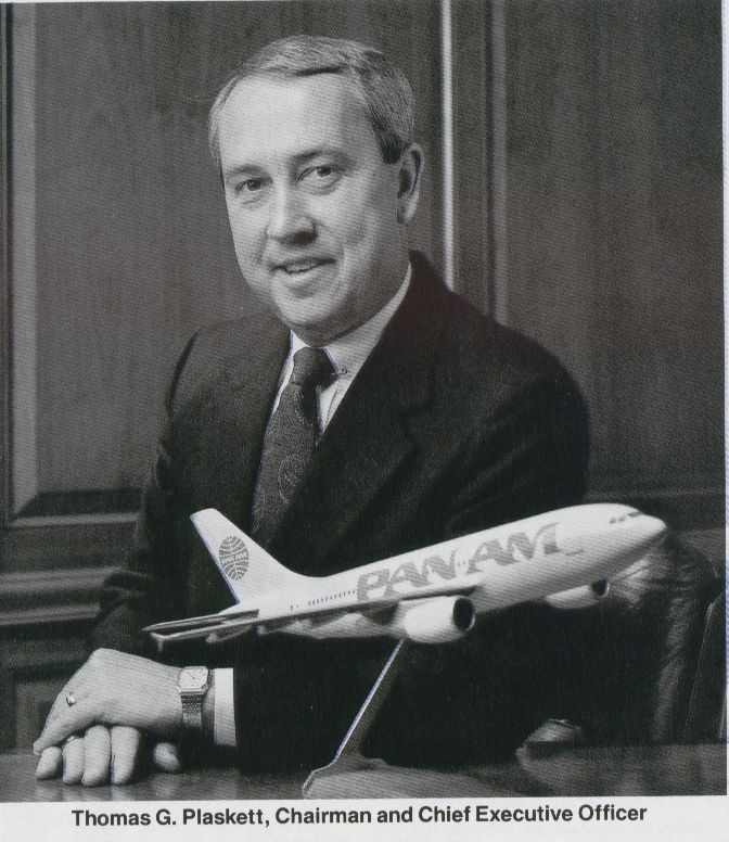 1988, Pan Am Chairman, Tom Plaskett, at his office in the Pan Am Building in New York.
